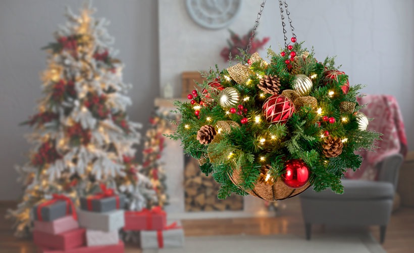 Christmas Decorating Ideas-Small Spaces-How To Display Ornaments-Hanging Basket