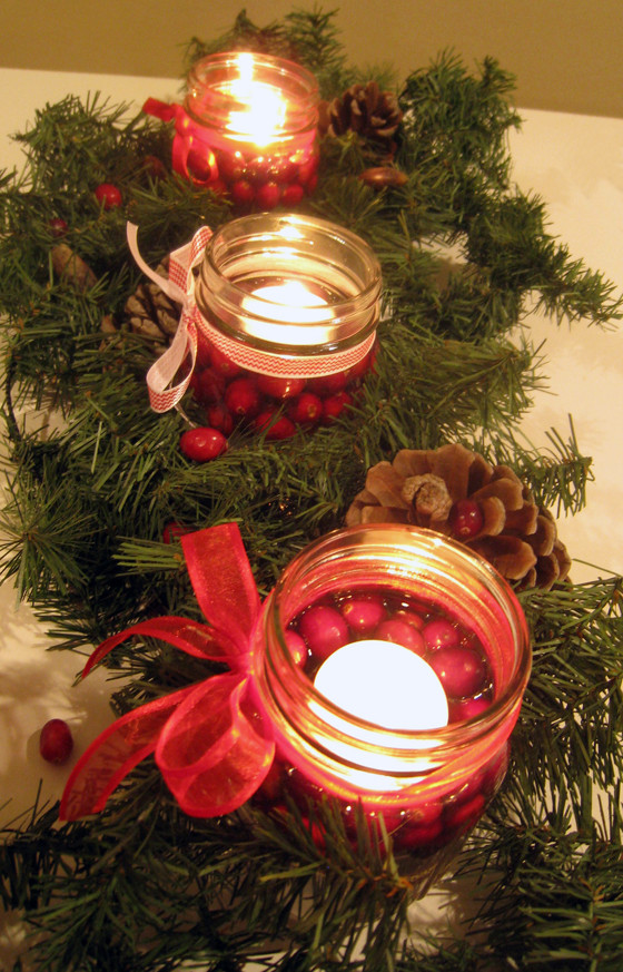 Cranberry Jars Christmas Centerpiece