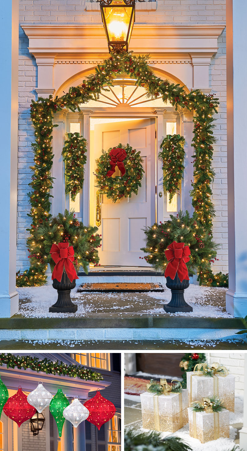 Dress Your Home to Impress with These Outside Christmas Decorations-Entryway