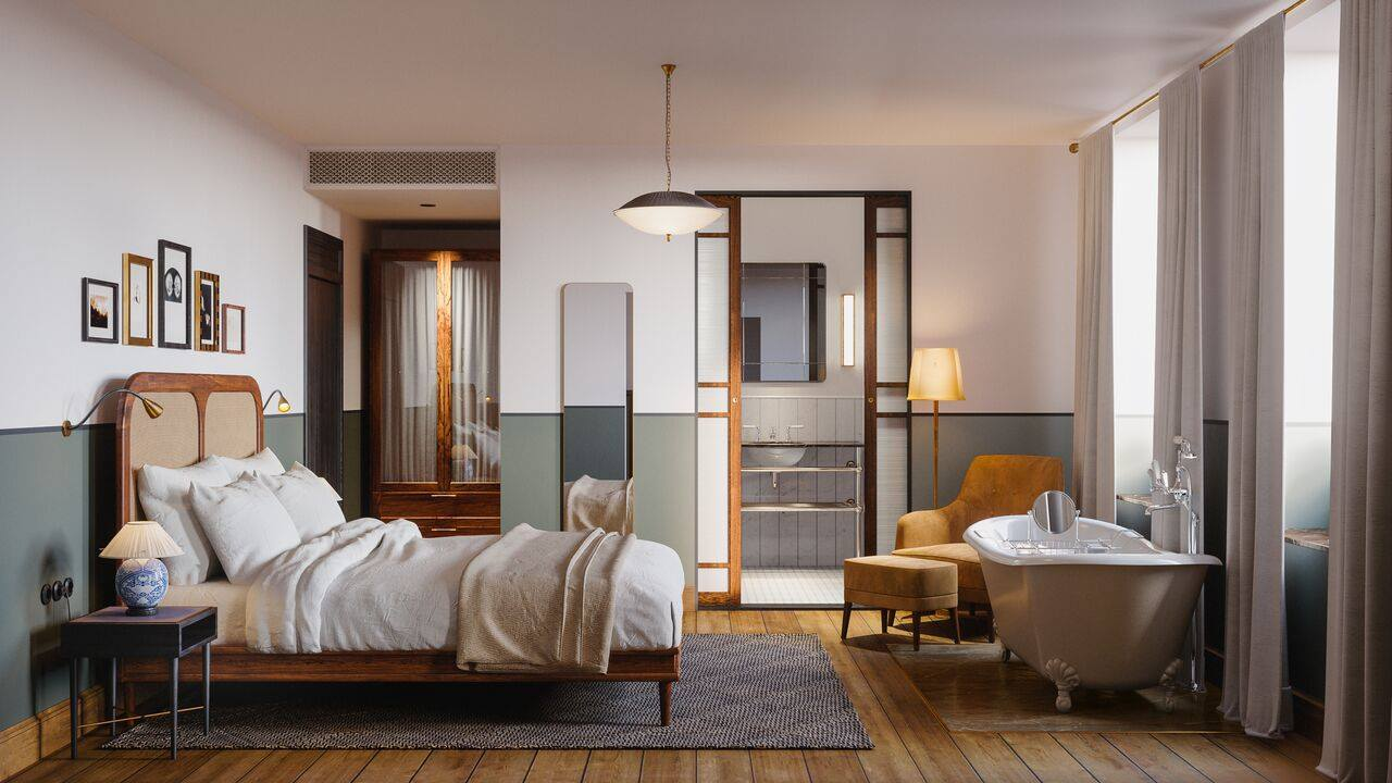 Richy Almond and Pernille Lind designed each piece of furniture for the room working with local Danish joiners and prototyping to perfection. Photograph courtesy of Lind & Almond fromBehind the Curtain: A Former Ballet Dancer's Romantic Hotel in Copenhagen.