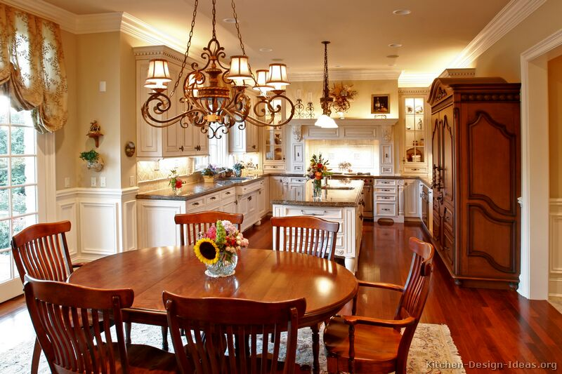 A Creamy White Kitchen with Antique Kitchen Cabinets