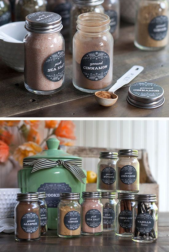 Go Farmhouse with these Herb and Spice Jar Labels | Click Pic for 28 DIY Kitchen Decorating Ideas on a Budget | DIY Home Decorating on a Budget