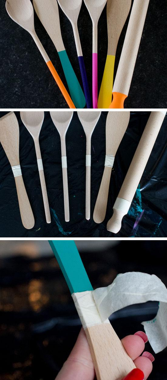 Make Paint 'Dipped' Wooden Spoons & Spatulas | Click Pic for 28 DIY Kitchen Decorating Ideas on a Budget | DIY Home Decorating on a Budget