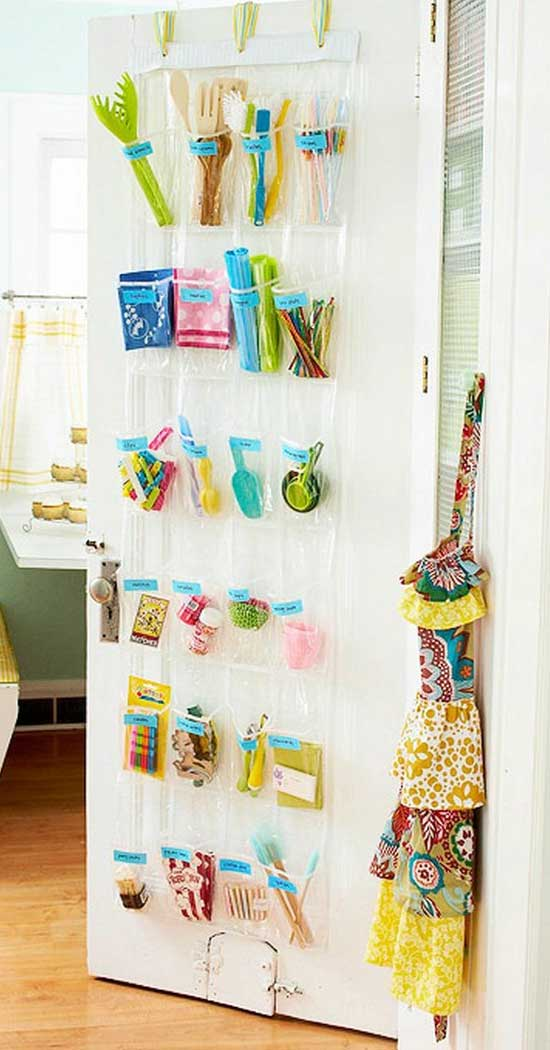 Over the Door Organizer for Kitchen Utensils | Inexpensive Kitchen Decorating Ideas | Easy Kitchen Decor Ideas