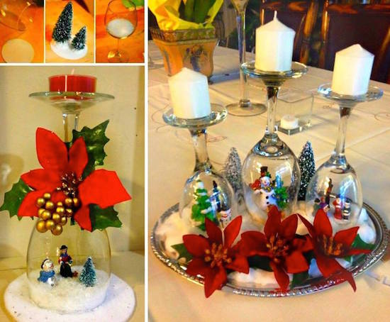 Wine glass snow globes (click the picture to see how to make them)