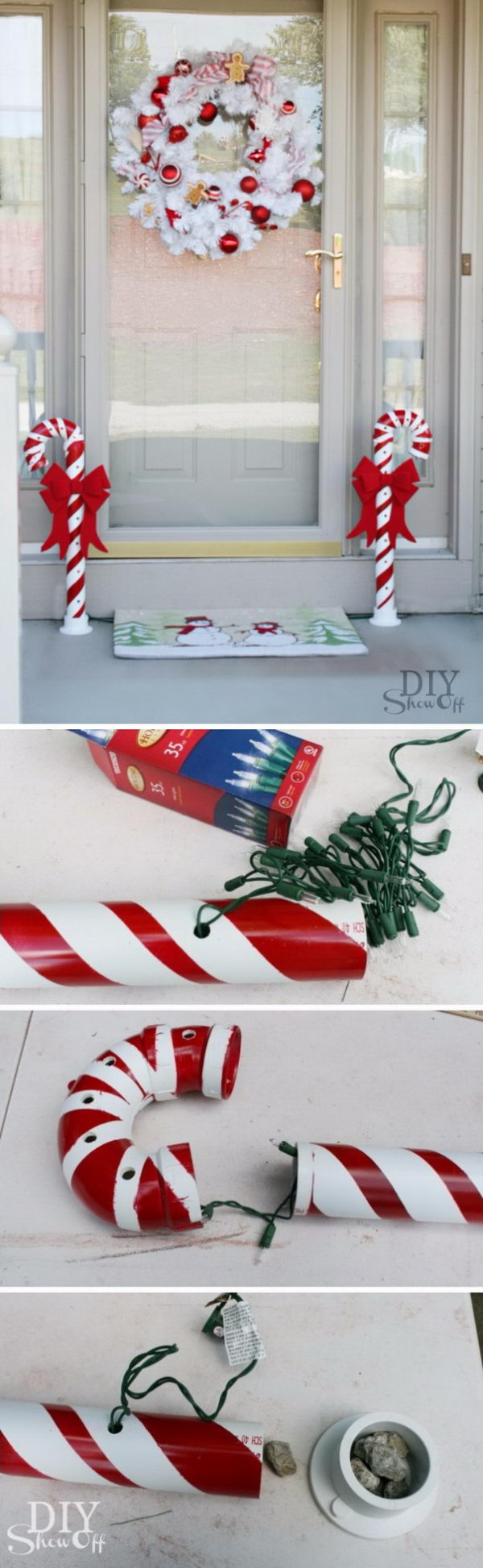 Candy Canes Made from PVC Pipes.