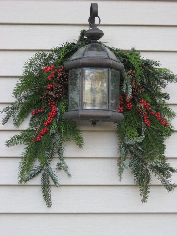 Evergreen Swag with Berries and Lantern.