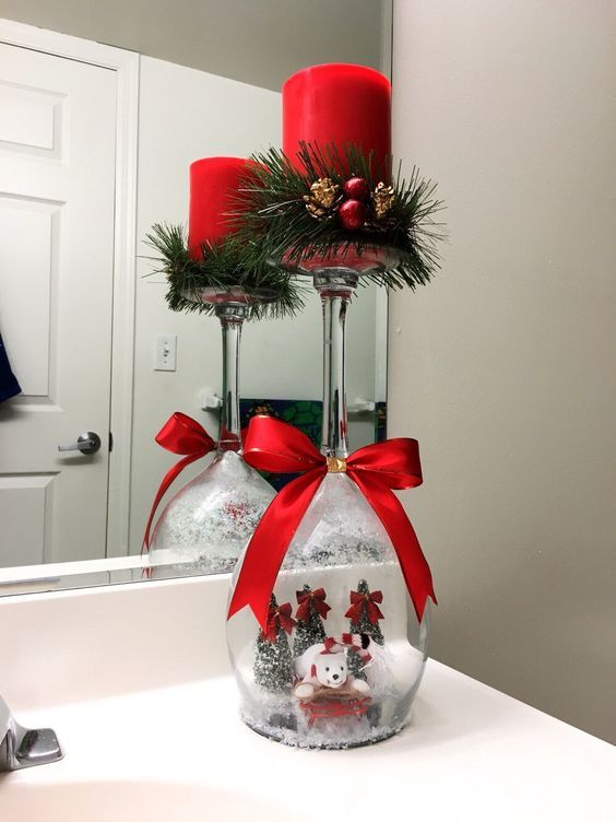Wine Glass Snow Globe with candle