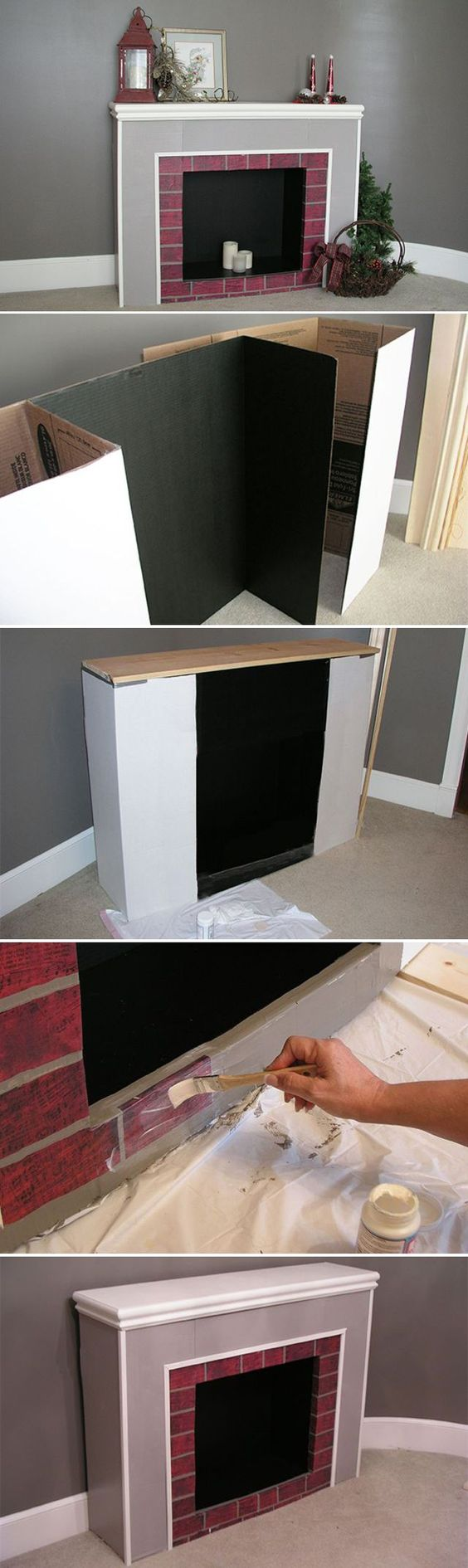 How to Make a Cardboard Christmas Fireplace - If your image of Christmas includes stockings hanging on a fireplace but your home doesn't have one, you can make a surprisingly realistic version from cardboard. Start with four cardboard display boards -- the kind students use for science projects. You can find them at hobby or office supply stores and home centers.