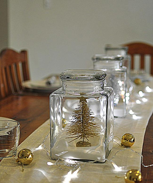 christmas table decoration fairy lights