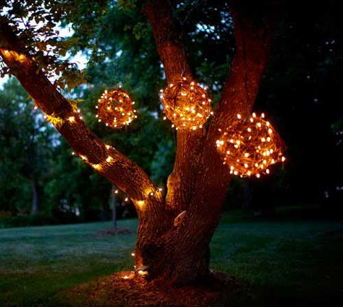 hanging lighted grapevine balls