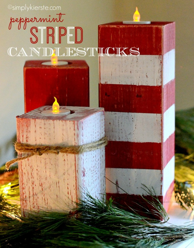 DIY Peppermint Striped Candle Sticks...these are the BEST Homemade Christmas Decorations & Craft Ideas!