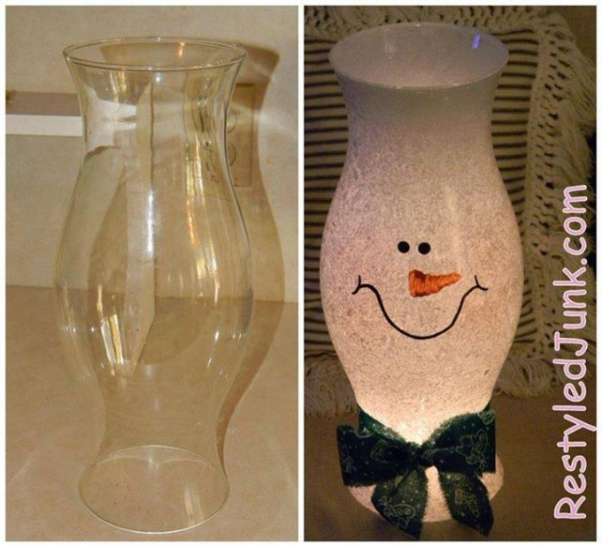 DIY Snowman Hurricane Shade...these are the BEST Homemade Christmas Decorations & Craft Ideas!