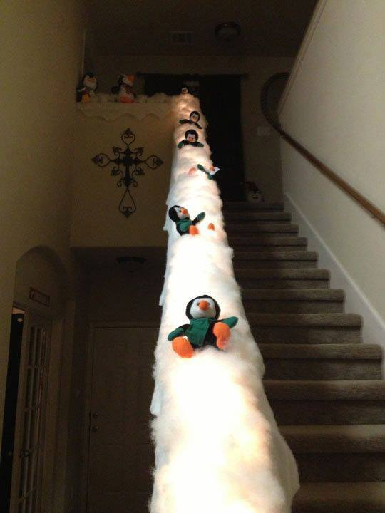 Sliding Staircase Penguins...these are the BEST DIY Christmas Decorations & Craft Ideas!