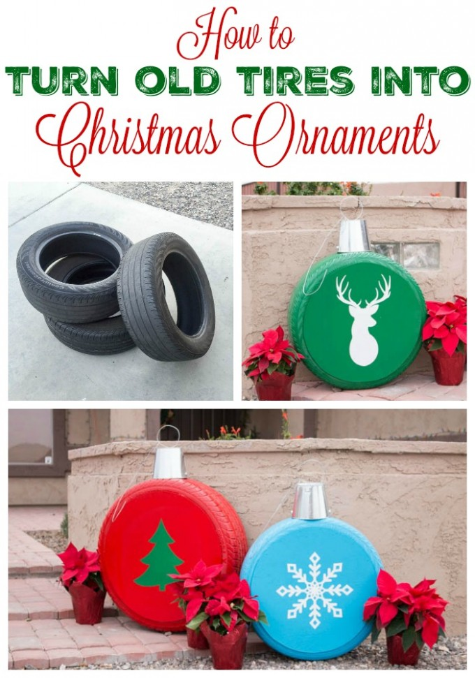 Turn Old Tires into Giant Ornaments...these are the BEST DIY Christmas Decorations & Craft Ideas!