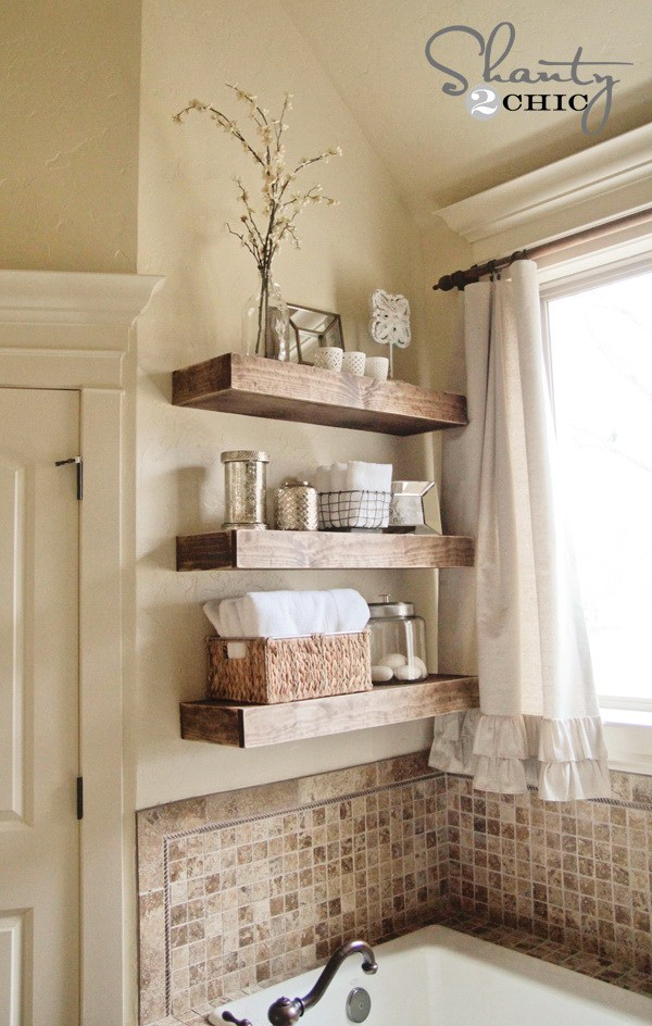 Easy DIY Floating Shelves: Create these easy DIY floating shelves for baskets, towels and other bathroom accessories.
