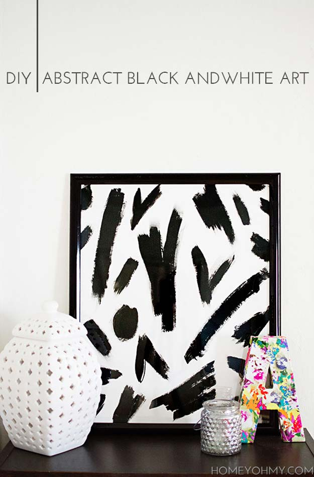 DIY Room Decor Ideas in Black and White - Abstract Black and White Art - Creative Home Decor and Room Accessories - Cheap and Easy Projects and Crafts for Wall Art, Bedding, Pillows, Rugs and Lighting - Fun Ideas and Projects for Teens, Apartments, Adutls and Teenagers http://diyprojectsforteens.com/diy-decor-black-white