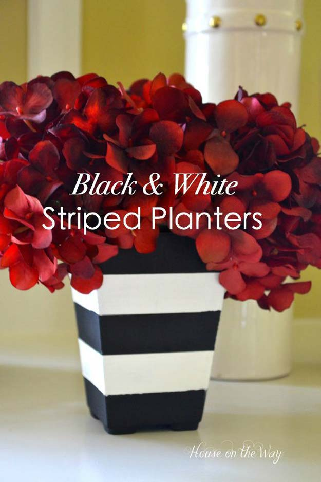 DIY Room Decor Ideas in Black and White - Black and White Stripe Planters - Creative Home Decor and Room Accessories - Cheap and Easy Projects and Crafts for Wall Art, Bedding, Pillows, Rugs and Lighting - Fun Ideas and Projects for Teens, Apartments, Adutls and Teenagers http://diyprojectsforteens.com/diy-decor-black-white