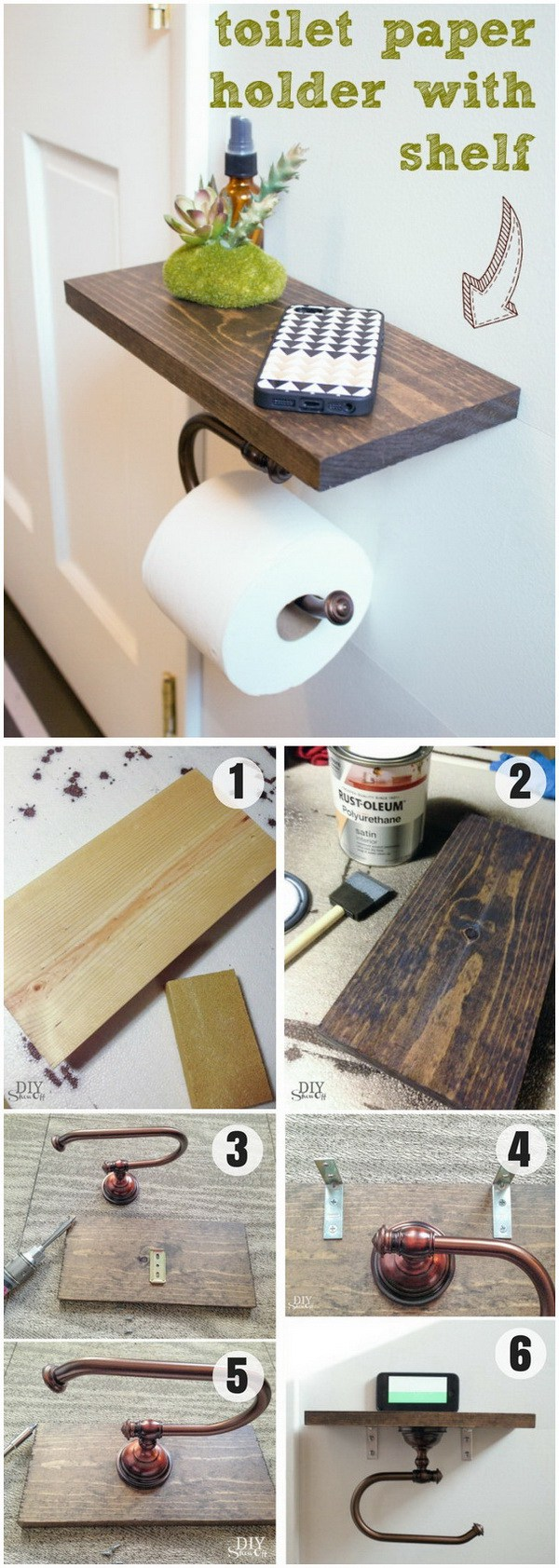 Toilet Paper Holder Shelf And Bathroom Accessories.