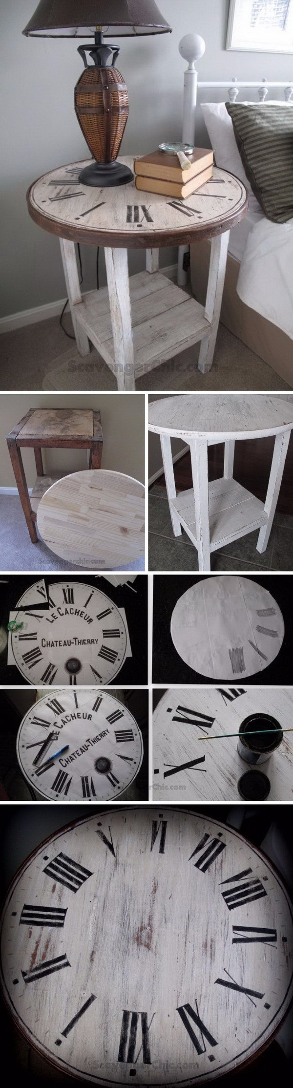 DIY Vintage Clock Table: Make this vintage clock table with some flea market finds! Easy and budget friendly to do and the result turns out so beautiful for your home.
