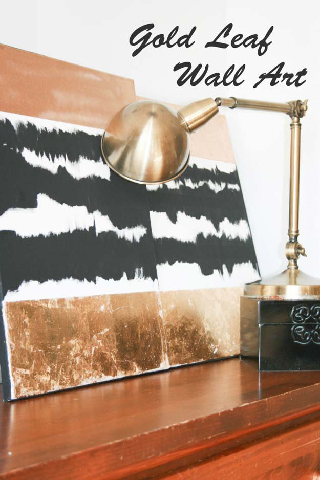 DIY Room Decor Ideas in Black and White - DIY Gold Leaf Wall Art - Creative Home Decor and Room Accessories - Cheap and Easy Projects and Crafts for Wall Art, Bedding, Pillows, Rugs and Lighting - Fun Ideas and Projects for Teens, Apartments, Adutls and Teenagers http://diyprojectsforteens.com/diy-decor-black-white