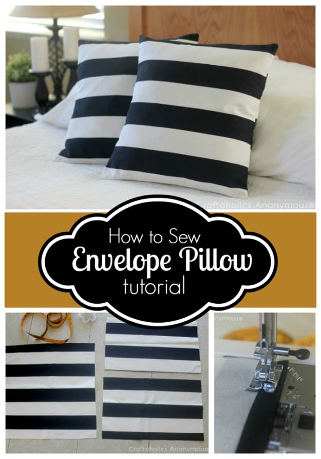 DIY Room Decor Ideas in Black and White - How to Sew Envelope Pillow Cover Tutorial - Creative Home Decor and Room Accessories - Cheap and Easy Projects and Crafts for Wall Art, Bedding, Pillows, Rugs and Lighting - Fun Ideas and Projects for Teens, Apartments, Adutls and Teenagers http://diyprojectsforteens.com/diy-decor-black-white