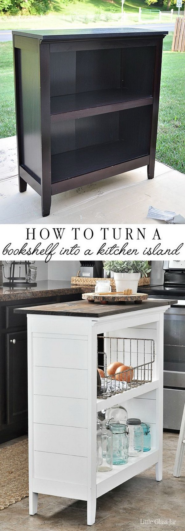 DIY Bookshelf Kitchen Island.