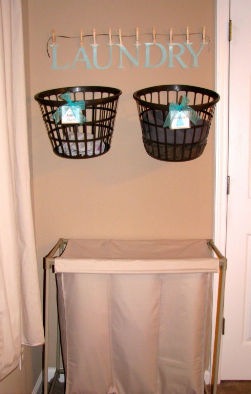 Hanging Laundry Baskets Save Time - 150 Dollar Store Organizing Ideas and Projects for the Entire Home