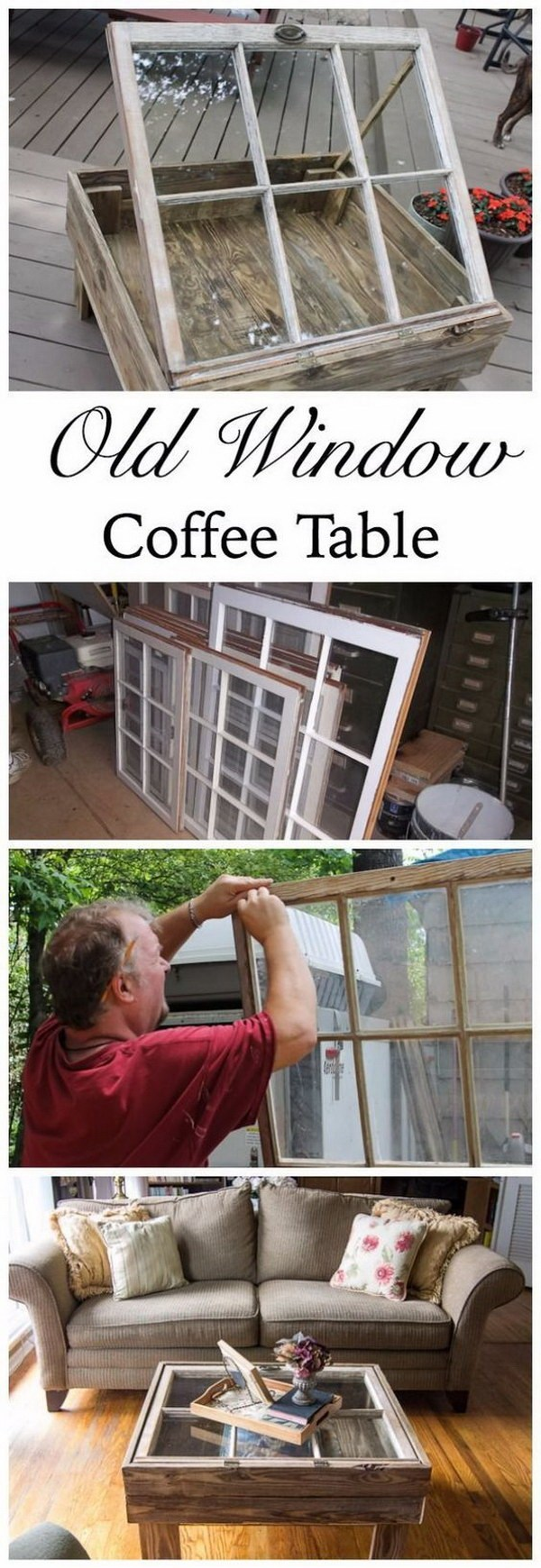 DIY Coffee Table With Old Window: