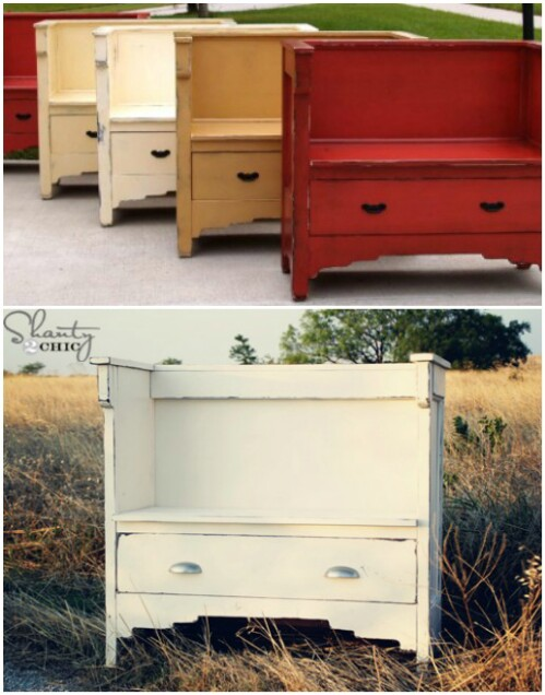 Vintage Bench with Drawer