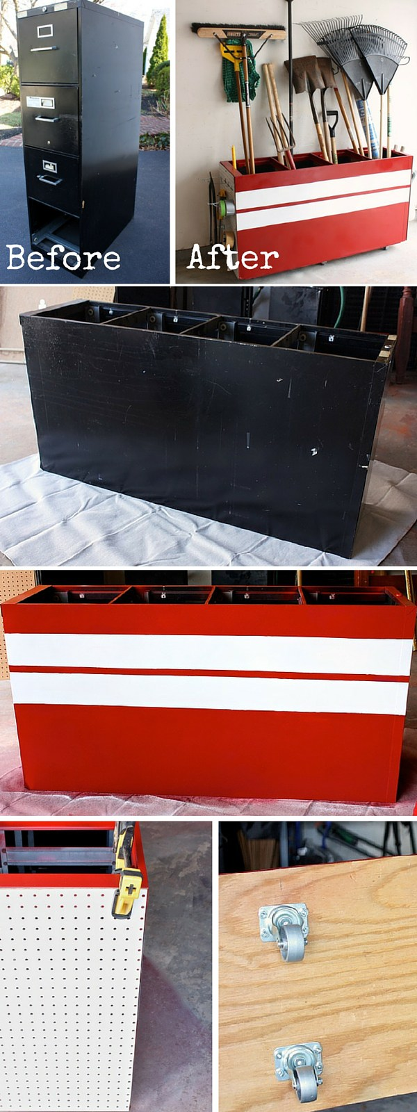 Old Filing Cabinet to a Garage Storage Unit. Turn a filing cabinet into a creative storage unit to keep various tools and household items in your garage.