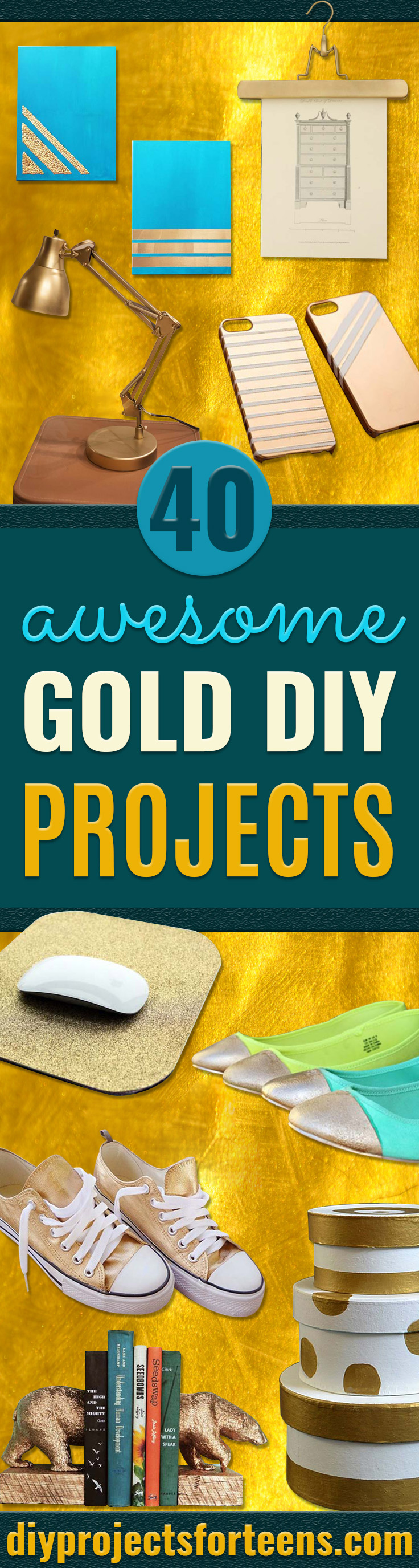 Gold DIY Projects and Crafts - Easy Room Decor, Wall Art and Accessories in Gold - Spray Paint, Painted Ideas, Creative and Cheap Home Decor - Projects and Crafts for Teens, Apartments, Adults and Teenagers http://diyprojectsforteens.com/diy-projects-gold