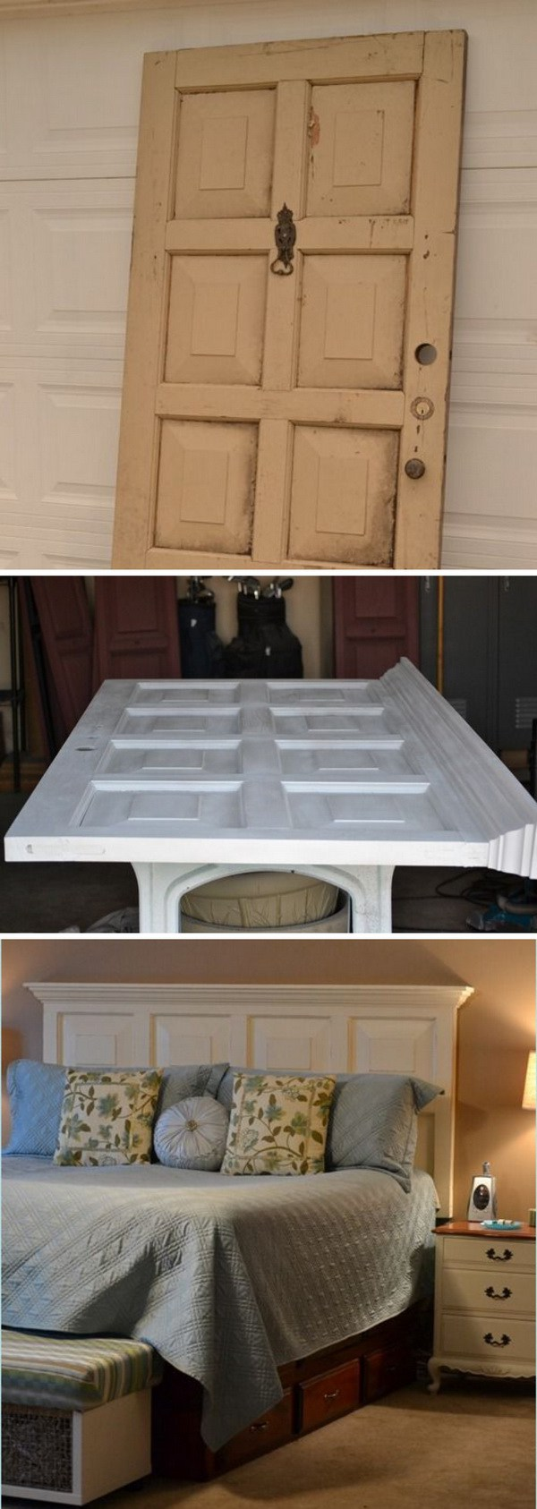 DIY Door Headboard: A creative way to upcycle your old doors! Like this one, you can turn the old door into a gorgeous DIY headbord with some white paint and a bit of handiwork.