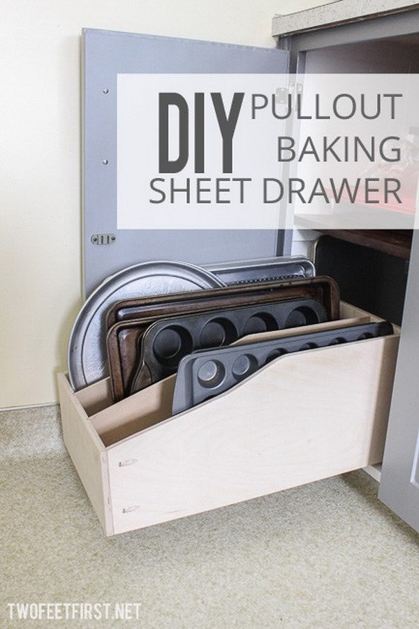 DIY Pullout Baking Sheet Drawer. Get some pieces of wood and create this pullout sheet drawer. Easy and quick to make and great for a kitchen rack to organize all the bakeware.