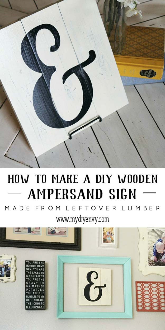DIY Room Decor Ideas in Black and White - DIY Ampersand Sign - Creative Home Decor and Room Accessories - Cheap and Easy Projects and Crafts for Wall Art, Bedding, Pillows, Rugs and Lighting - Fun Ideas and Projects for Teens, Apartments, Adutls and Teenagers http://diyprojectsforteens.com/diy-decor-black-white