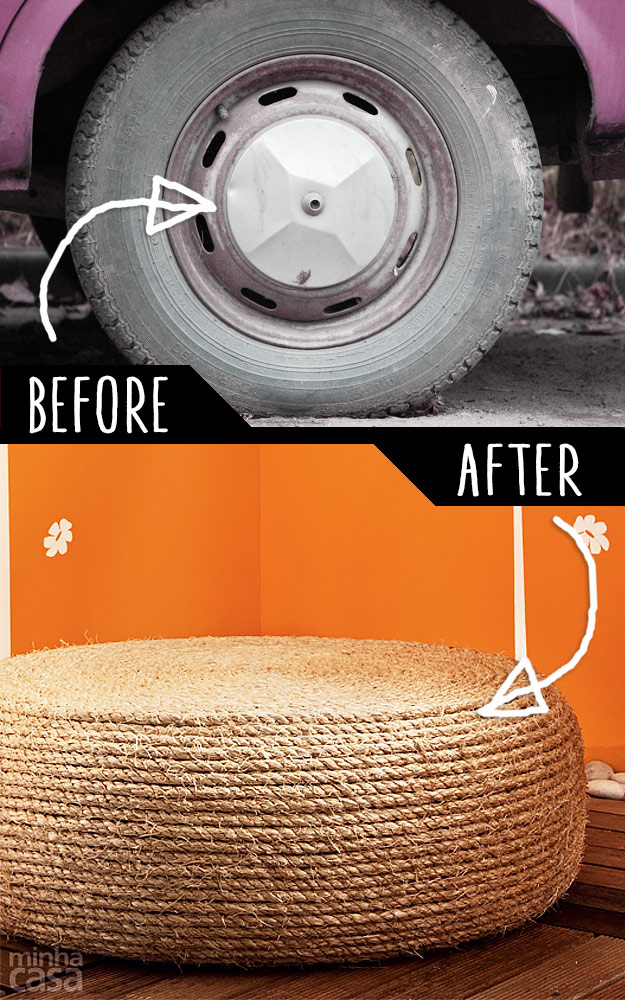 DIY Furniture Hacks   An Old Tire into a Rope Ottoman   Cool Ideas for Creative Do It Yourself Furniture   Cheap Home Decor Ideas for Bedroom, Bathroom, Living Room, Kitchen - http://diyjoy.com/diy-furniture-hacks