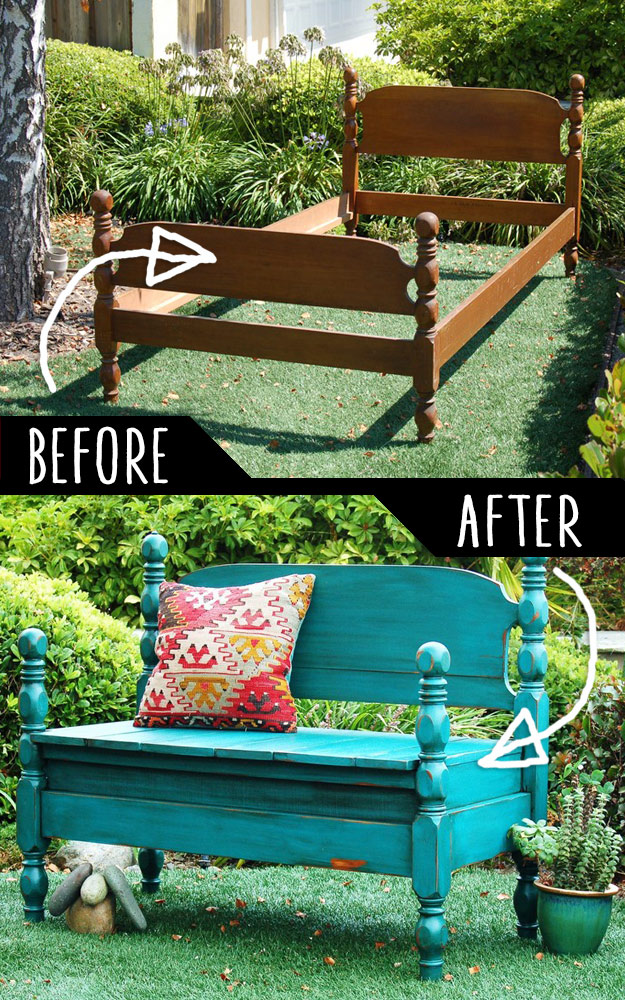 DIY Furniture Hacks   Bed Turned Into Bench   Cool Ideas for Creative Do It Yourself Furniture   Cheap Home Decor Ideas for Bedroom, Bathroom, Living Room, Kitchen - http://diyjoy.com/diy-furniture-hacks