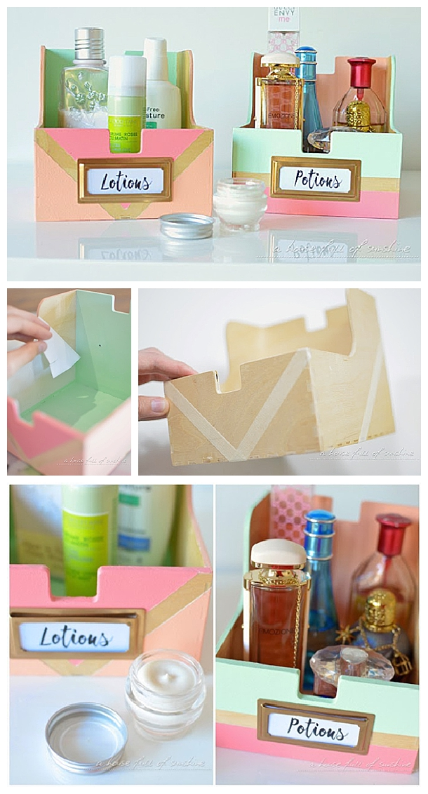 DIY Bathroom Organization Ideas - Upcycle old CD storage boxes into cute toiletry holders for the Bathroom - Do it yourself Project tutorial via i heart organizing #bathroomorganization #bathroomideas #bathroomhacks #bathroomtips #organizethebathroom