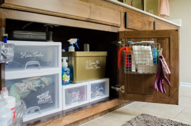 DIY Bathroom Organization Ideas - Bathroom-Organization-Under-the-Sink His side and Her Side Ideas and Tutorial via Polished Habitat #bathroomorganization #bathroomideas #bathroomhacks #bathroomtips #organizethebathroom