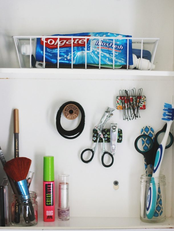 DIY Bathroom Organization Ideas - Create Pretty Do it Yourself Magnets to organize the small metal items inside of your Medicine Cabinet - Step by Step Tutorial via The Merr #bathroomorganization #bathroomideas #bathroomhacks #bathroomtips #organizethebathroom