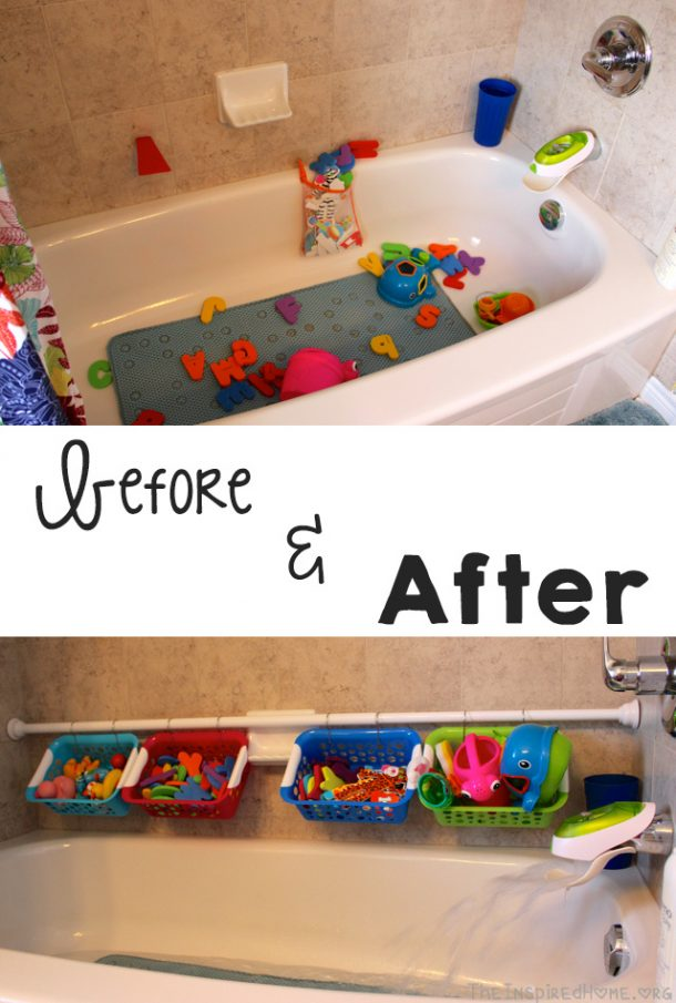 DIY Bathroom Organization Ideas - Easy and CHEAP Bathtub Toy Organization Idea and Tutorial via The Inspired Home #bathroomorganization #bathroomideas #bathroomhacks #bathroomtips #organizethebathroom