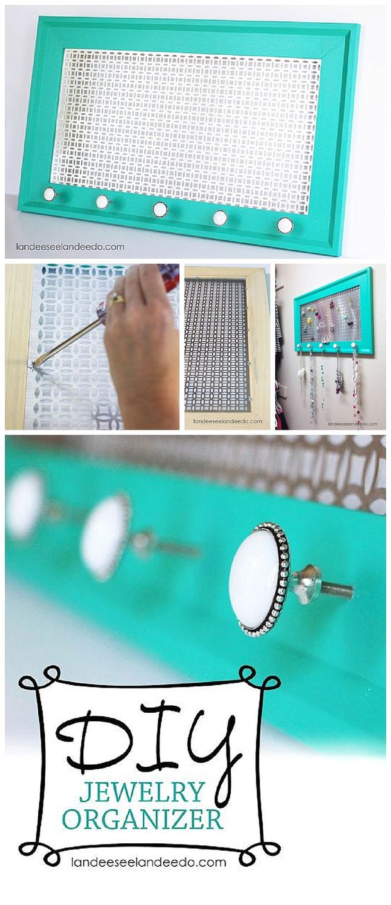 DIY Bathroom Organizer Ideas - Make a really awesome decorative do it yourself organizer that is as pretty as the jewelry itself - easy tutorial via Landeelu #bathroomorganization #bathroomideas #bathroomhacks #bathroomtips #organizethebathroom