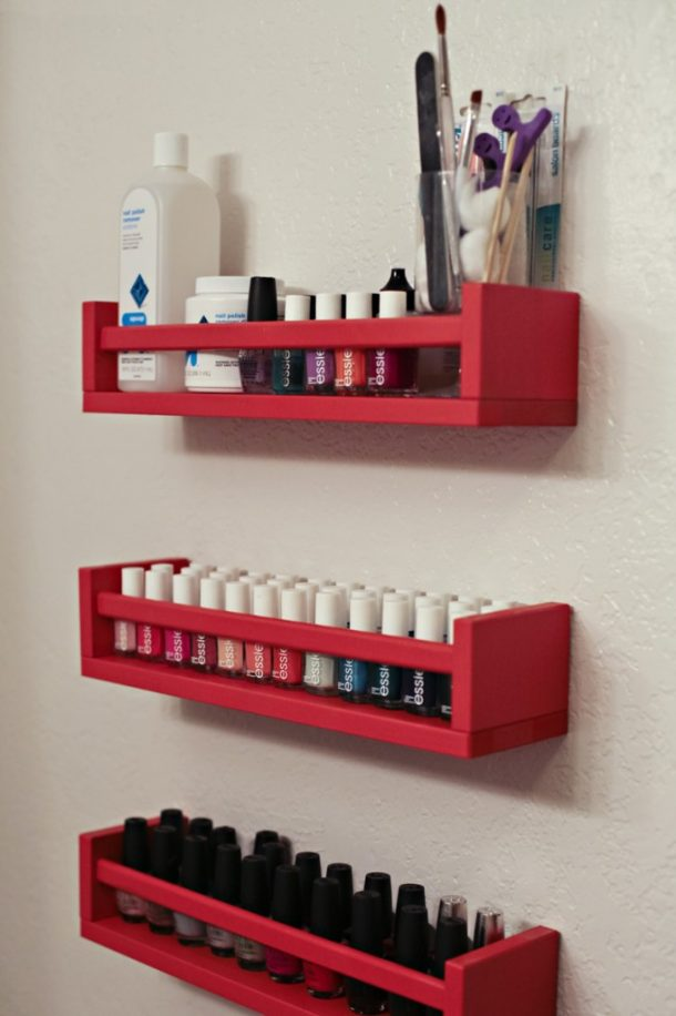 DIY Bathroom Organizer Ideas - Use Old Cheap Spice Racks and repaint to mount in the bathroom as beauty supply storage - Do it Yourself Project Tutorial via This Moms Gonna #bathroomorganization #bathroomideas #bathroomhacks #bathroomtips #organizethebathroom
