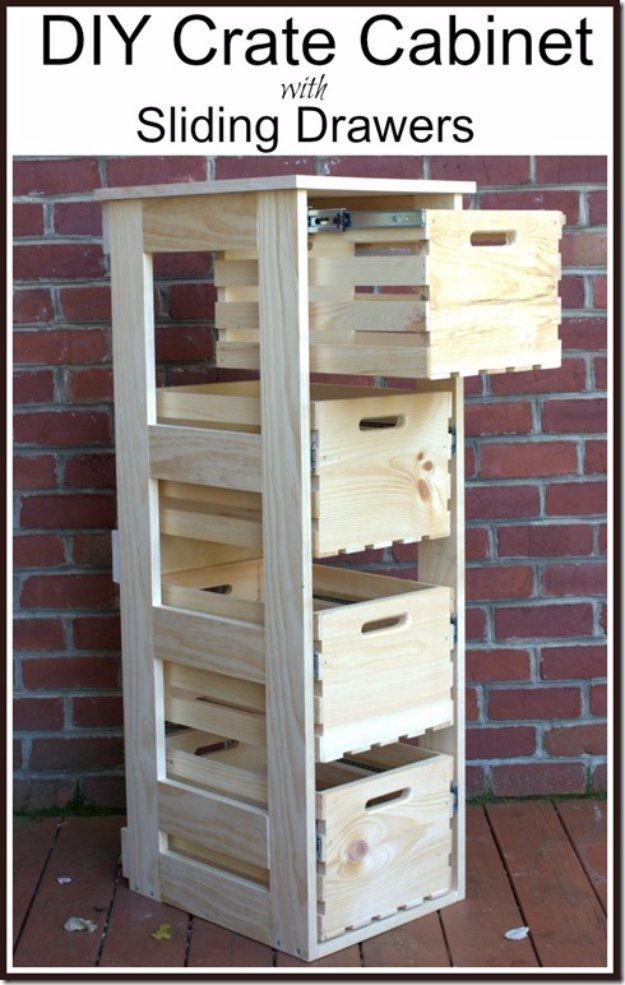 DIY Storage Ideas - DIY Crate Cabinet with Sliding Drawers  - Home Decor and Organizing Projects for The Bedroom, Bathroom, Living Room, Panty and Storage Projects - Tutorials and Step by Step Instructions  for Do It Yourself Organization http://diyjoy.com/diy-storage-ideas-organization