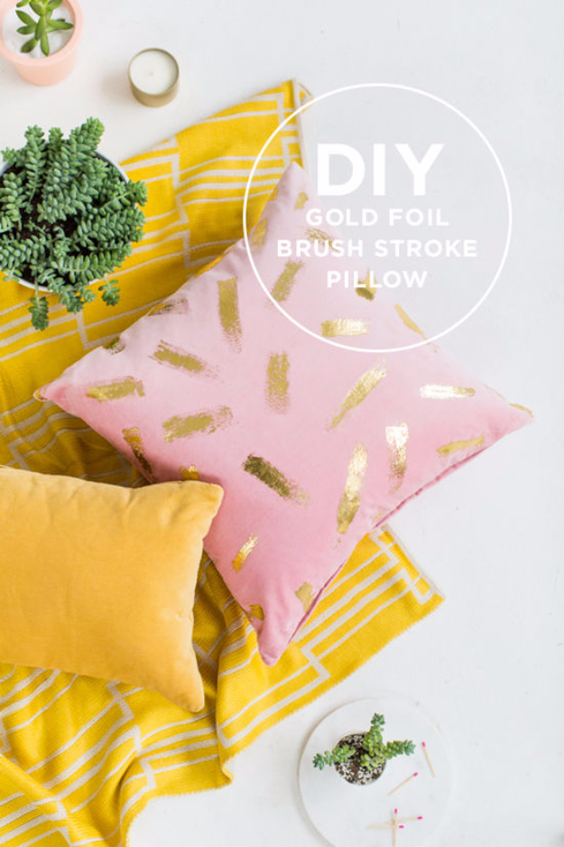 Best DIY Gifts for Girls - DIY Gold Foil Brush Stroke Pillow - Cute Crafts and DIY Projects that Make Cool DYI Gift Ideas for Young and Older Girls, Teens and Teenagers - Awesome Room and Home Decor for Bedroom, Fashion, Jewelry and Hair Accessories - Cheap Craft Projects To Make For a Girl for Christmas Presents http://diyjoy.com/diy-gifts-for-girls