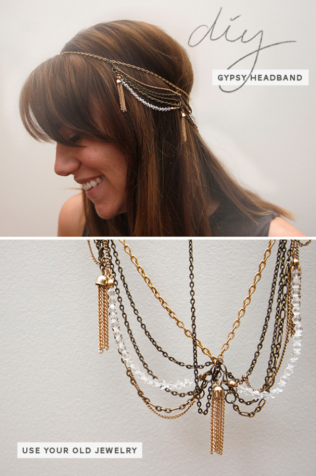 Best DIY Gifts for Girls - DIY Gypsy Chain Headband - Cute Crafts and DIY Projects that Make Cool DYI Gift Ideas for Young and Older Girls, Teens and Teenagers - Awesome Room and Home Decor for Bedroom, Fashion, Jewelry and Hair Accessories - Cheap Craft Projects To Make For a Girl for Christmas Presents http://diyjoy.com/diy-gifts-for-girls