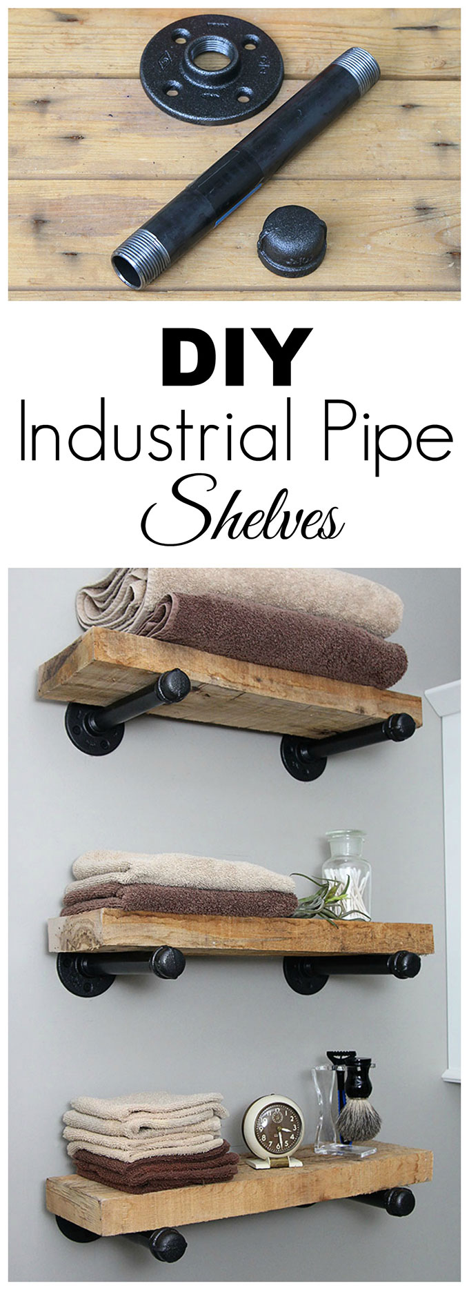Super easy step by step tutorial for how to make DIY industrial pipe shelves at a fraction of the cost of the store bought version. These would look great with both farmhouse and industrial home decor! #diyproject #industrialstyle #DIYHomeDecor #industrialdecor #homedecorideas