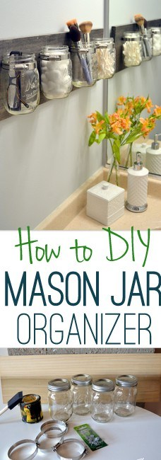 DIY Tips for an Organized Bathroom - Do it Yourself Pretty wall mounted hanging Mason Jar and Pallet Organizer Tutorial via DIY Playbook #bathroomorganization #bathroomideas #bathroomhacks #bathroomtips #organizethebathroom