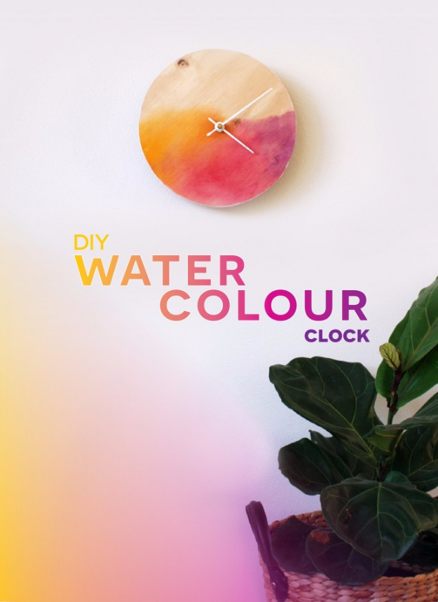 Best DIY Gifts for Girls - DIY Watercolor Clock - Cute Crafts and DIY Projects that Make Cool DYI Gift Ideas for Young and Older Girls, Teens and Teenagers - Awesome Room and Home Decor for Bedroom, Fashion, Jewelry and Hair Accessories - Cheap Craft Projects To Make For a Girl for Christmas Presents http://diyjoy.com/diy-gifts-for-girls