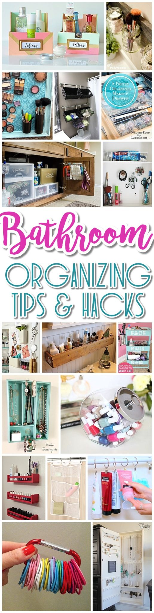 EASY Inexpensive Do it Yourself Ways to Organize and Decorate your Bathroom and Vanity -The BEST DIY Space Saving Projects and Organizing Ideas on a DIY Budget - Dreaming in DIY #bathroomorganization #bathroomideas #bathroomhacks #bathroomtips #organizethebathroom